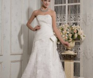 bridal gown, summer wedding dress, and strapless wedding dress image