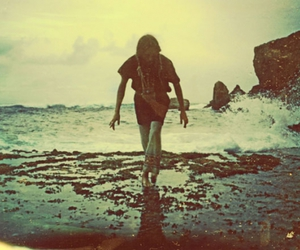 girl, hippie, and beach image