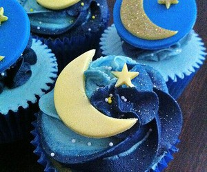 cupcake, blue, and moon image