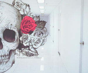 death, rose, and skull image