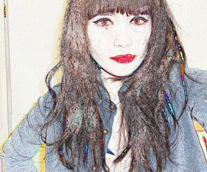 hair, illustration red lips, and long hair. eyes image