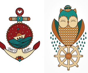 anchor, owl, and sweet scape image