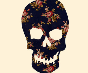 skull, floral, and flowers image