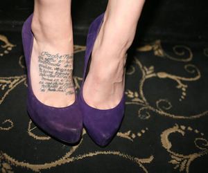 shoes, tattoo, and purple image