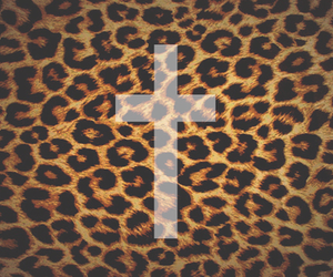 leopard, cross, and wallpaper image