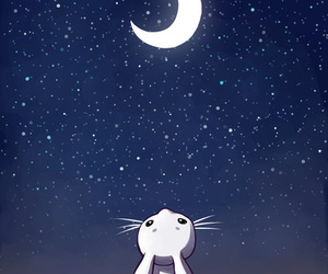 moon, stars, and rabbit image