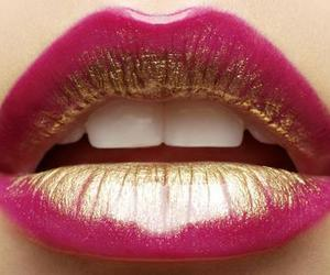 lips, pink, and gold image