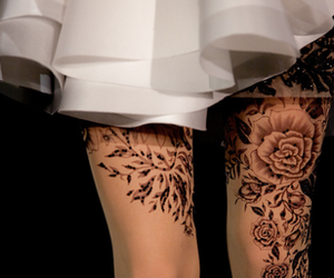 dress, tatoo, and withe image