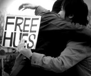hug, free hugs, and black and white image