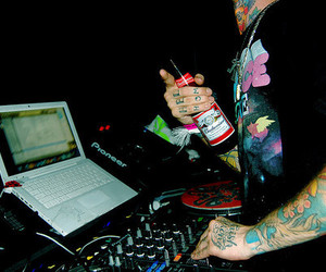 tattoo, dj, and beer image