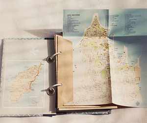 map, diary, and film image