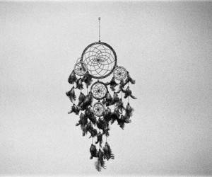 black and white and dreamcatcher image