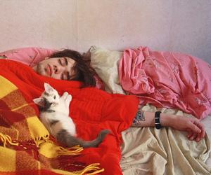 boy, cat, and sleep image