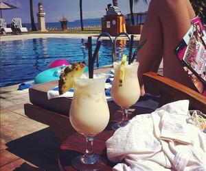 summer, pool, and drink image