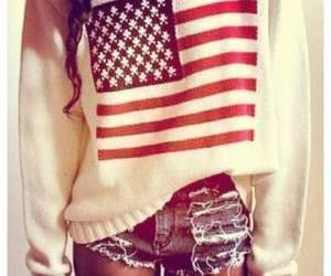 sweater, usa, and shorts image