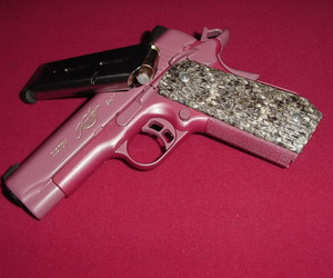 gun, pink, and barbie image