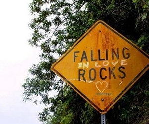 love, sign, and rock image