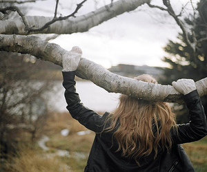 girl, tree, and gloves image