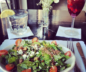 food, salad, and wine image