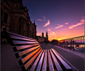 photography, bench, and sunset image