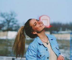 girl, smile, and hair image