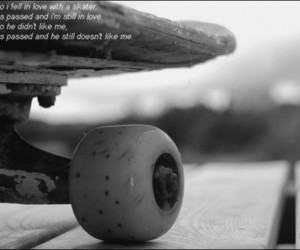 black and white, skateboard, and text image