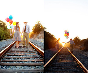 balloons, love, and couple image