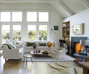 decor, fireplace, and natural light image