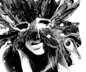 mask, black and white, and girl image