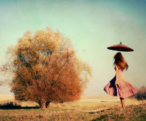 girl, tree, and umbrella image