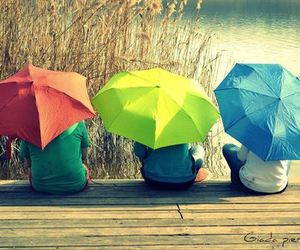 girl, umbrella, and friends image