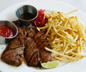 food, fries, and meat image