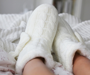 white, cozy, and slippers image