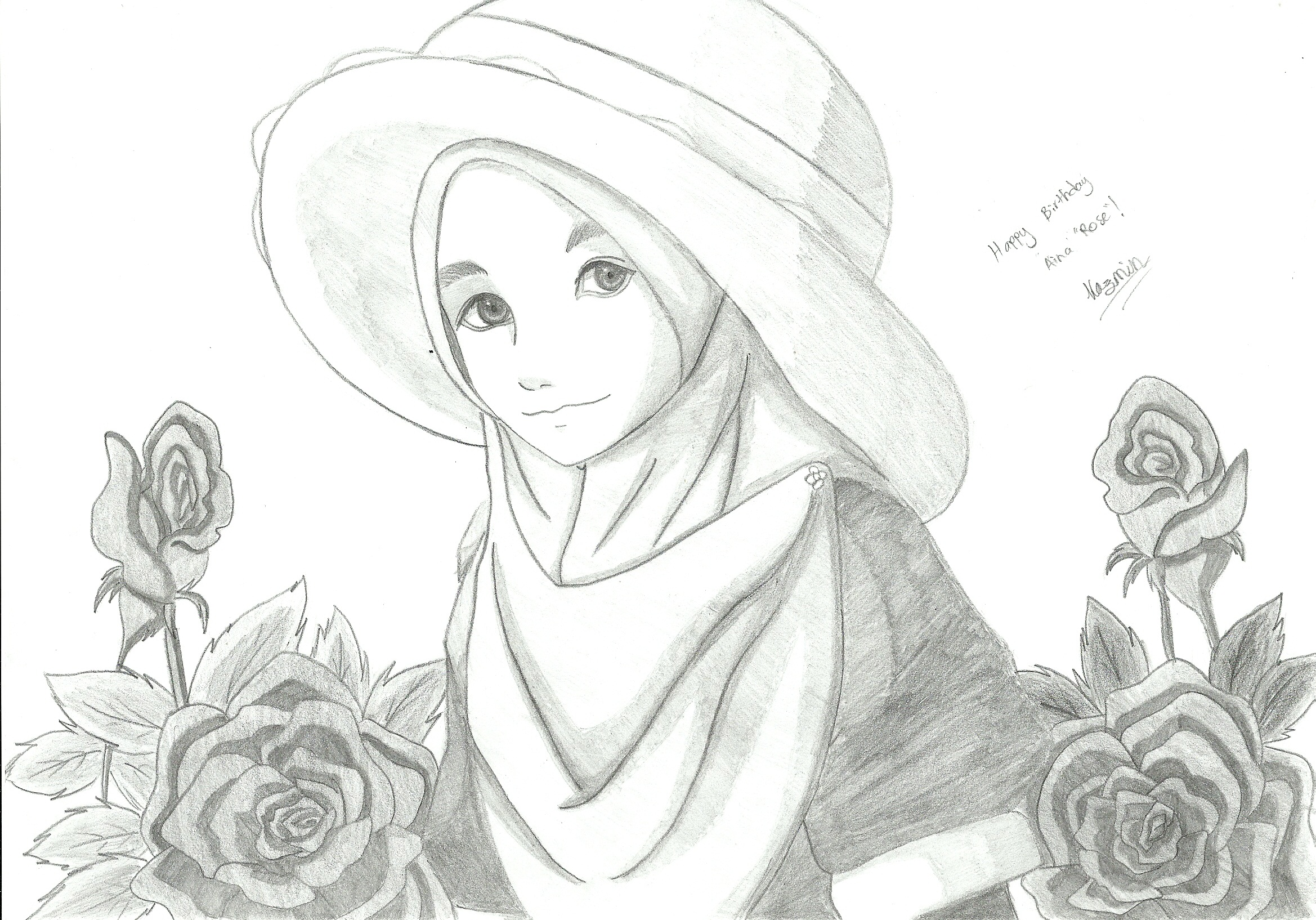 Hijab Anime Images In Pencil