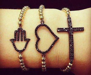 bracelet, heart, and cross image