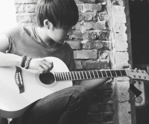 black and white, guitar, and kpop image