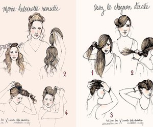 blond, chignon, and draw image