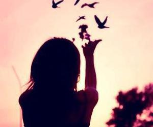 bird, girl, and pink image