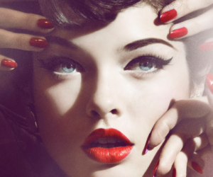 red, nails, and woman image