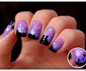 nails, purple, and stars image