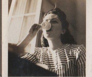 girl, vintage, and coffee image