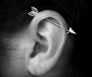 piercing, arrow, and ear image