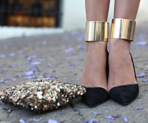 black, gold, and shoes image