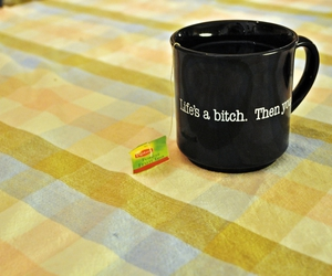 cup, life's a bitch, and tea image