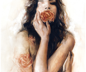 flowers, girl, and painting image