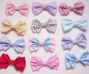 cute, bow, and pink image