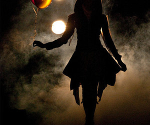 girl, balloons, and dark image