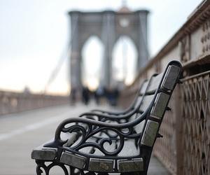 photography, bench, and bridge image