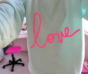 love, pink, and sweater image