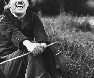 charlie chaplin, black and white, and smile image